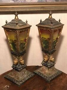 Bradley And Hubbard First Nations Reverse Painted Panel Glass Table Lamps