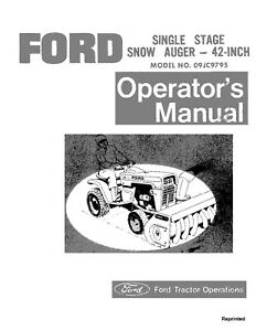 New Holland Ford Se3334a Singel Stage Snow Auger 42 Inch Operators Manual