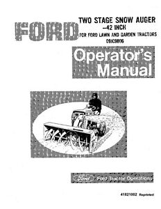 New Holland Ford Se3379a Diesel Snow Auger 42 For 09jc9806 Operators Manual