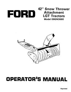 New Holland Ford Se4443a 42 Inch Snow Thrower 09gn36801986 87 Operators Manual