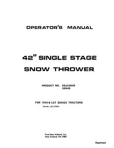 New Holland Ford Se37 6001 42 Snow Thrower Lgt Attachment Operators Manual