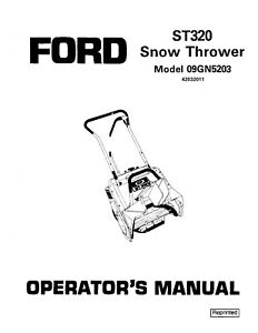New Holland Ford Se4086b St 320 Snow Thrower For 09gn5203 Operators Manual