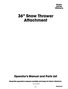 New Holland Ford Se4458a 36 Inch Snow Thrower Attachment Operators Manual