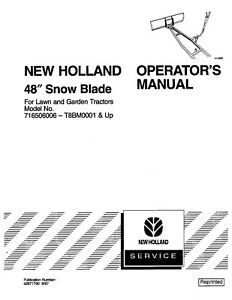 New Holland 48 Inch Snow Blade For Lgt s Attachment Operators Manual