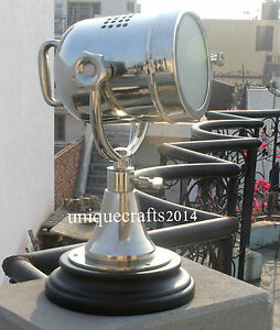 Nautical Table Lamp Searchlight W Wooden Vintage Classical Industrial Royal Gift