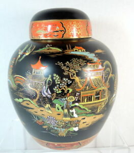 Art Deco 1920 S English 10 Carlton Ware Mikado Pattern Chinese Ginger Jar