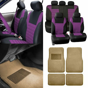Purple Car Seat Covers For Auto Car Suv With Beige Carpet Floor Mats