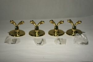 Vintage Lot Of 4 Double Coat Hat Hooks Solid Brass Made In Taiwan