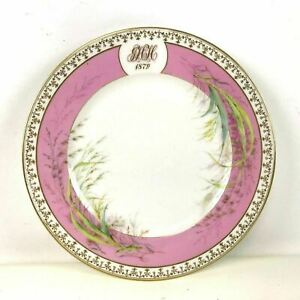 Antique French Old Paris Porcelain Plate Dated 1879 Pink Gold Boarder