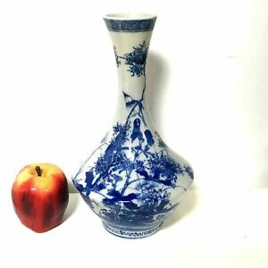 Antique Japanese Blue White Vase W Bird Decoration Hand Painted