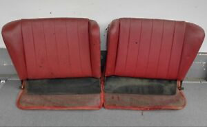 Pair Of Used Original Genuine Porsche 356c 356sc Coupe Rear Seat Backs Red 7