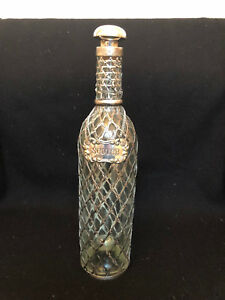 Antique Whiskey Decanter Bottle With 950 Sterling Silver Overlay