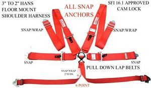 Han 6 Point Race Harness Sfi 16 1 For Head Neck Restraint Devices Clip In Red