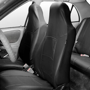 Highback Bucket Seat Covers Pair Pu Leather For Auto Car Suv Van Black