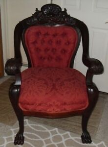 Antique Empire 1870 Mahogany Parlor Upholstered Arm Chair Carved Lions Claw Feet
