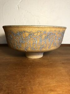 Vintage Mid Century Modern Studio Pottery Footed Bowl Artist Signed 1960s