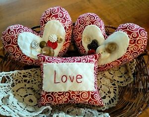 Three Handcrafted Valentine Heart Pillow Tuck S Ornie S