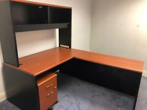L shape Desk W Hutch By Hon Office Furniture In Black Cherry Combo Laminate