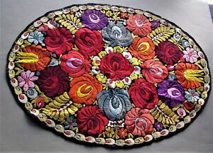 Antique Art Deco Embroidered Matyo Silk Piano Scarf Doily