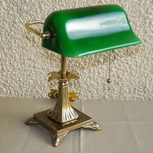 Vintage Deco Solid Brass And Glass Bankers Desk Lamp Green Glass Shade