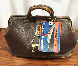 Vintage Medical Doctor Bag 1940 Brown Leather Passenger Sailing Conard White