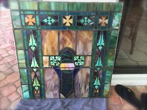 Antique Vtg Church Art Deco Stained Glass Window Architectural Salv