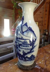 Blue White Canton Chinese Hand Decorated Signed Tall Vase