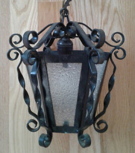 Vintage Spanish Gothic Black Wrought Iron Hanging Swag Ceiling Light Lamp A