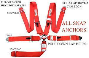 Red Safety Harness 5 Point 3 Sfi 16 1 Racing Cam Lock Floor Mount Snap Anchors