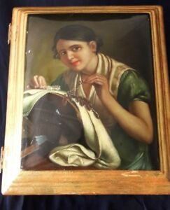 Italian French Gesso Gilt Jewelry Chest Box Portrait Painting Paris Sarcophagus