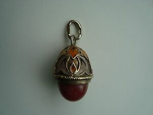 Russian Imperial 960 Silver Gilt Enamel Egg With Red Jade Stone Charm Pendant