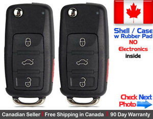 2 New Replacement Remote Key Fob Flip Case For Audi Volkswagen Shell Only