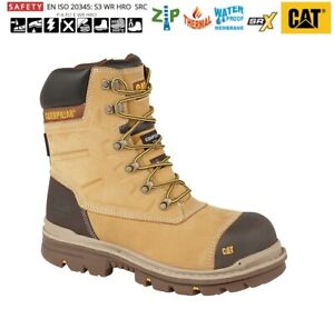 Mens Caterpillar Cat Leather Honey Combat Safety Work Boots Size 6 12 Uk