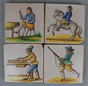 4 Antique French Polychrome Ceramic Tiles W Figures Horse 1900 S Lot N1