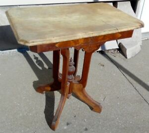 Antique Victorian 1880 White Marble 29 Top Burl Panel Oak End Island Hall Table