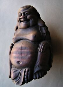 Antique Hand Carved Wooden Buddah 8 1 2 Tall 2 6 Lbs