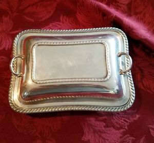 Vintage Silver On Copper 2 Piece Serving Dish Platter Casserole With Design