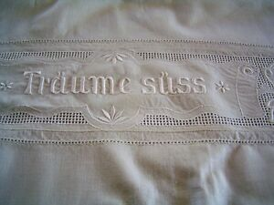 Superb Vintage Appenzell Embroidery Linen Pillow Cover Sham Pillowcase Angels