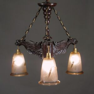 Vintage French Wood Gargoyle Chandelier Glass Shades Butterfly And Bamboo