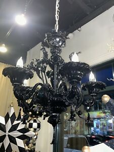 Authentic Vintage Black Italian Murano 6 Light Entry Dining Room Chandelier
