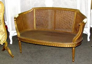 19th Century French Louis Xvi Cane Caned Settee Sofa Canap