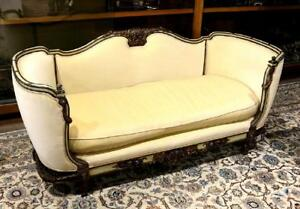 19th C Unique French Louis Xvi Polychrome Canap Daybed Settee Or Sofa
