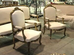 20th Century Fine Gilded Ornate Italian Rococo Revival Settee Canap And Chairs