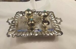 Antique Navajo Sterling Silver Miniature Tea Coffee Set Turquoise Bead Finials