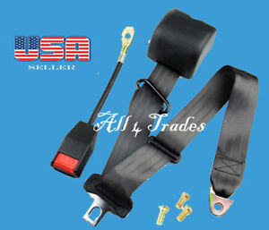 1 Kit Of 3 Point Universal Strap Retractable Adjustable Safety Seat Belt Black
