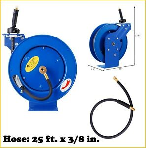 Air Hose Reel Compressor Air Auto Retractable 25 Ft 300 Psi 3 8 Hose Wall Mount