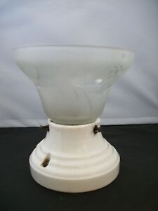Vintage Porcelain One Light Wall Ceiling Light Fixture With Shade And Plug