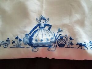 Vintage Tablecloth Hand Embroidered Holland Dutch Scene