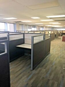 Telemarketers Cubicles workstation By Global Evolve W Glass 4ft X 4ft