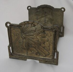 Vntg 1920 S Judd Cast Iron Indian Head Expanding Book Rack With Swastika 9964